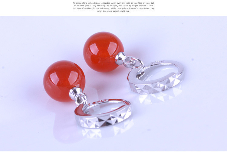 bohemian 925 sliver 8mm red Crystal Jewelry Moon River Rhinestone Top Quality Earrings for Women Silver () earring Ohrringe