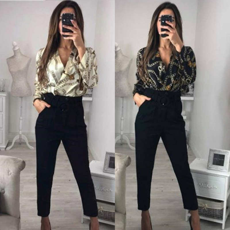 2019 Sweet Vintage Silk Rompers Women Print Long Sleeve   Jumpsuit   Deep V Neck Key Sexy   Jumpsuit   Women Satin Thin Loose Bodysuits
