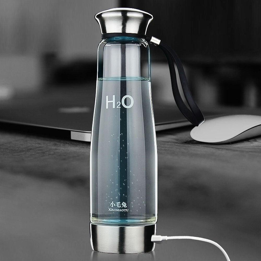 XIAOMAOTU 500 ML Wasserstoff Wasser Generator Glasflasche Gesunde Wasserstoff Reiche Wasserflasche Hohe Borosilikatglas Ionisator Flasche