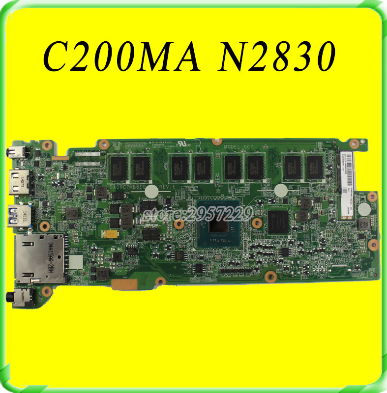FOR ASUS C200MA Motherboard W/N2830 Processor DA00C7MB6E0 REV:E Mainboard 100% work free shipping