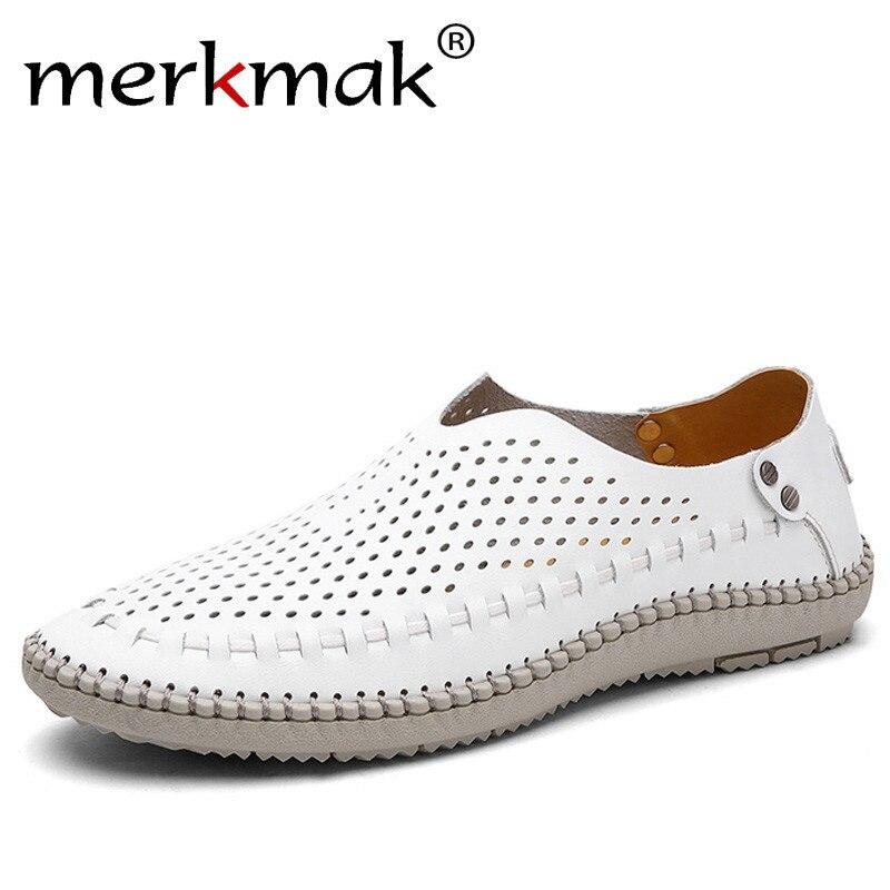 Merkmak Marke Sommer Kausalen Schuhe Männer Faulenzer Echtem Leder Mokassins Männer Fahren Schuhe Hoher Qualität Wohnungen Für Mann größe 39-46