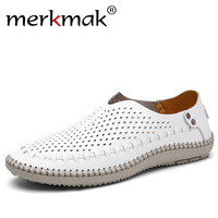 Merkmak Brand Summer Causal Shoes Men Loafers Genuine Leather Moccasins Men Driving Shoes High Quality Flats