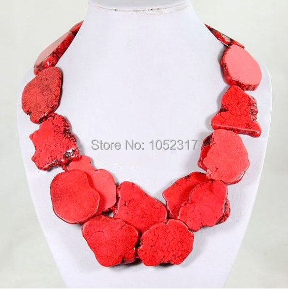 Fashionable 2 Rows Pendant Slice Stone Necklace RED YELLOW PURPLE WHITE ORANGE Pink Green 8 Colors