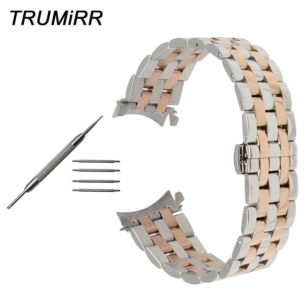 Curved End Stainless Steel Watch Band For Citizen Eco-drive Machanical Men Women Butterfly Clasp Wrist Strap 18mm 20mm 22mm 24mm