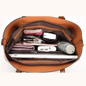 Image 5 - 高級婦人用バッグオイルワックスレザーショルダーバッグ財布ポケットの女性のハンドバッグ女性のメッセンジャーバッグビッグトートバッグbolso feminina