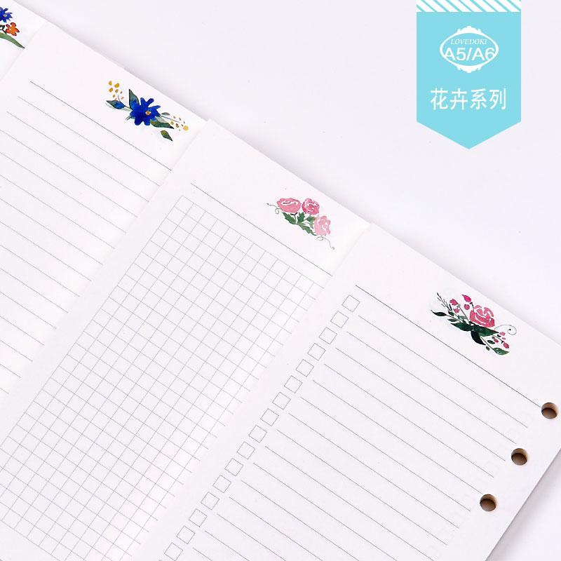 Dokibook 2017 Нові документи для ноутбуків A5 A6 Сторінки Планувальник Наповнювач Квіти Порядок денний Внутрішній облік паперу filofax kikkik