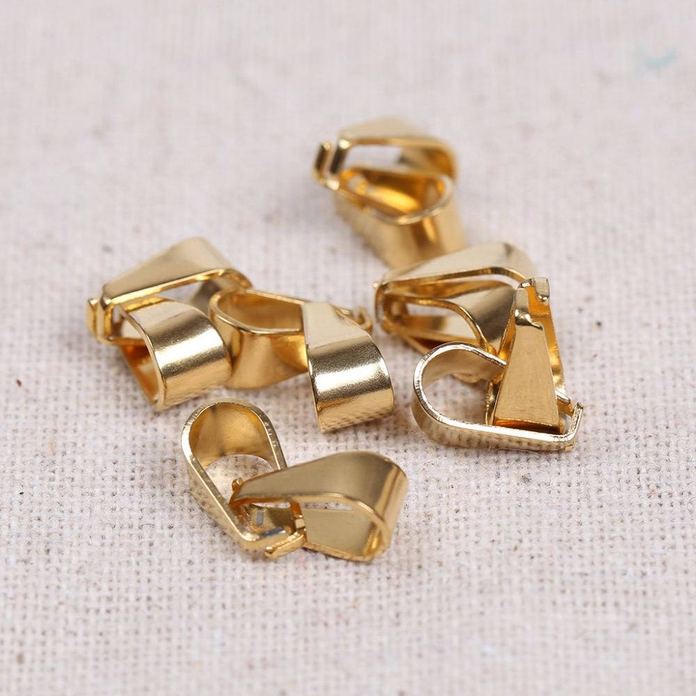 reidgaller 20pcs gold plated stainless steel pinch bails for pendants diy clip connector findings for jewelry making