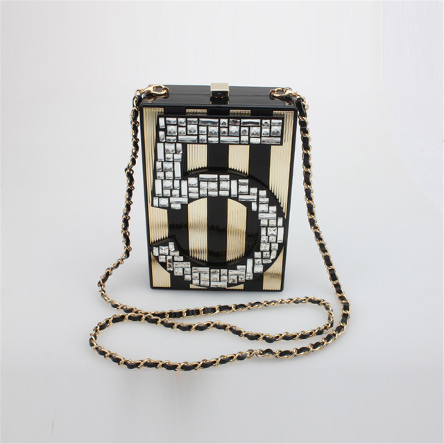 DUDINI   LETTER Evening Clutch Bag Full Crystal Shinning Elegant Acrylic Party Bag Girl Shoulder Bag For Party