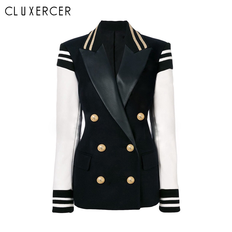 2019 New Spring Autumn Slim Plus Size Blazer Women Fashion Double-breasted Ladies Black white stitching office coat women