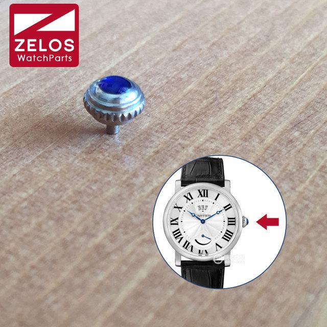 6.0mm waterproof  S.Steel Sapphire Crystal watch crown for Cartier ROTONDE watch WSRO0002  W1556369 W1556215 parts