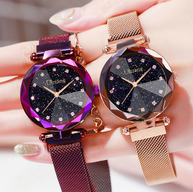 Luxury Starry Sky Women Watches Rhinestone Easy Magnet Buckle Fashion Rose Gold Lady Wristwatch Purple Elegant Casual Clock