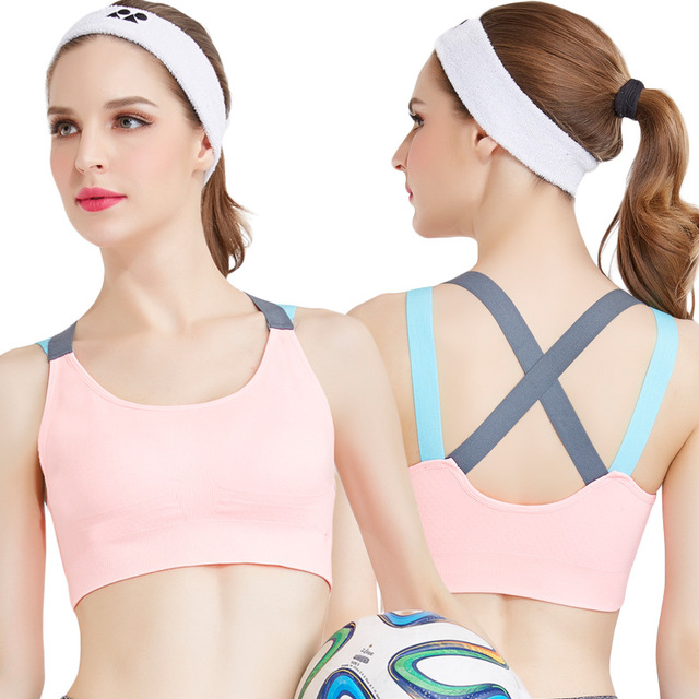 57bc814f45469 Pro Cross Strap Back Women Sports Bra Professional Quick Dry Padded  Shockproof Gym Fitness Running Yoga Sport Brassiere Tops
