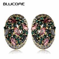 Blucome Pendientes Vintage para mujer niñas ganchos franceses Max Brincos Ouro Joias cristal completo turco joyería Retro Pendientes