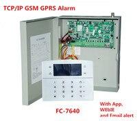 2018 лучшие FC 7640 промышленных RJ45 Ethernet сигнализация 8 проводных зон 32 беспроводных зон TCP/IP GSM сигнализация с металлический корпус