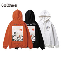 QoolXCWear Winter Japan Style Hip Hop Casual Sweatshirts Japanese Embroidery Funny Cat Wave Printed Fleece Hoodies Streetwear