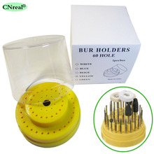60 Holes Dental Burs Holder Block Station with Heightened Cover Autoclavable Round Yellow 142 holes dental burs bur block holder holds holder station pull out drawer set lnb