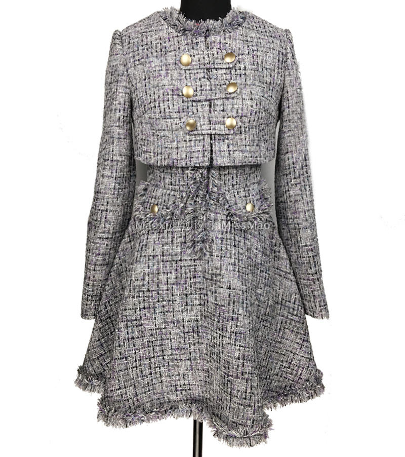 D'hiver Top Crop Mince Manteau Costume Élégant Pièce Haute La Ensemble Taille Robe Et 2 Bureau Wonen 5xl Tweed Veste Qualité Plus Robe fP1Pwqv