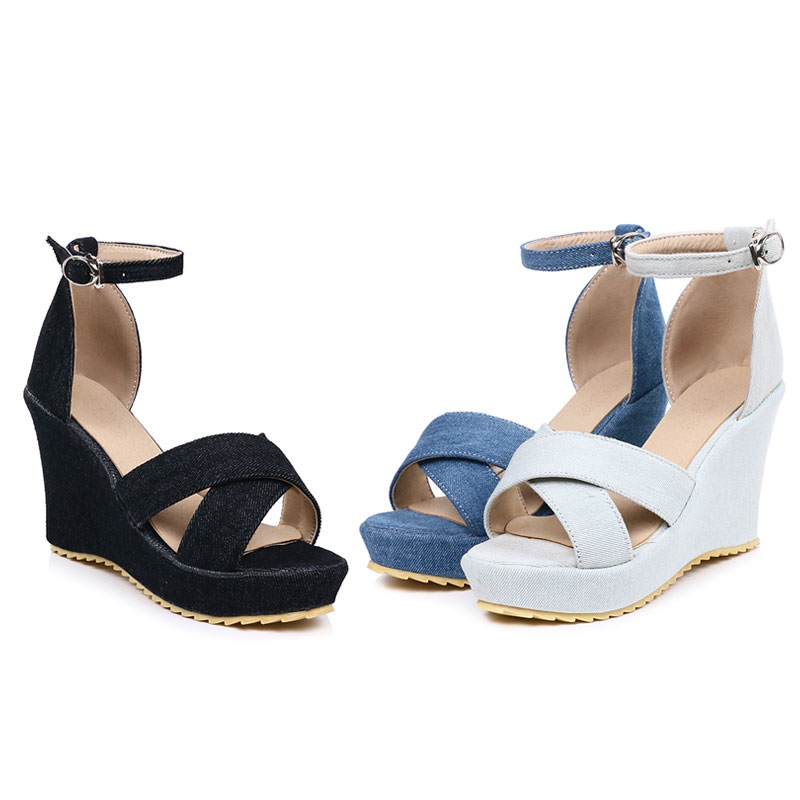 d5d8337e317f Daitifen Women s Summer Footwear Denim Wedge Sandals Ladies Cross Tied  Heeled Shoes Buckle Party Wedding Shoes Platform Sandals-in High Heels from  Shoes on ...