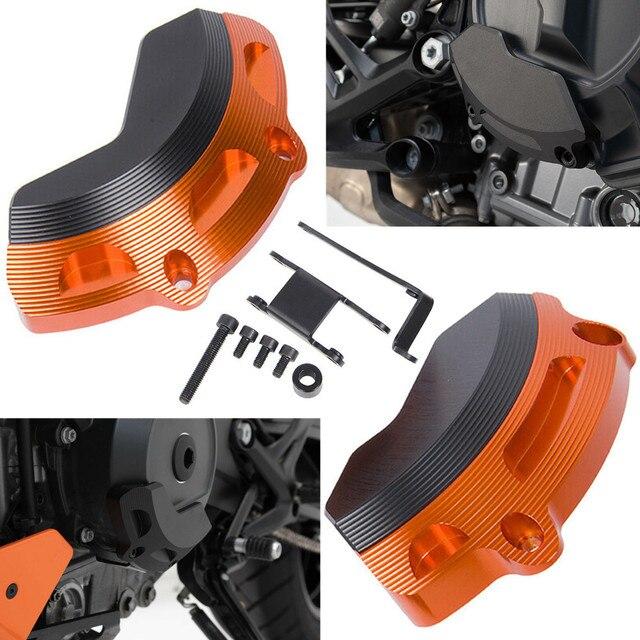 オートバイ左右エンジンケーススライダーガードプロテクターカバー Ktm 790 デューク 2018 2019 オレンジ黒ステータカバークラッシュパッド