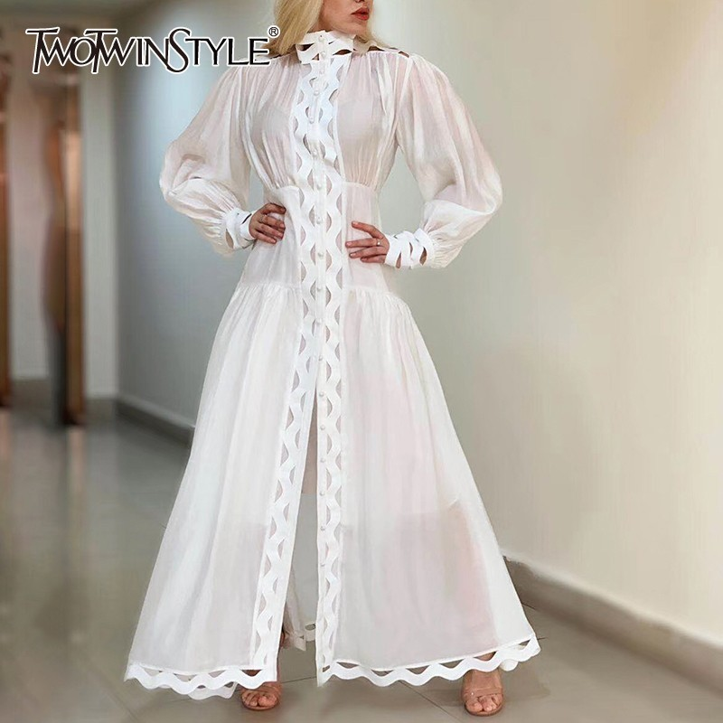 TWOTWINSTYLE Hollow Out Dress For Women Stand Collar Lantern Sleeve High Waist Dresses Female Casual Summer