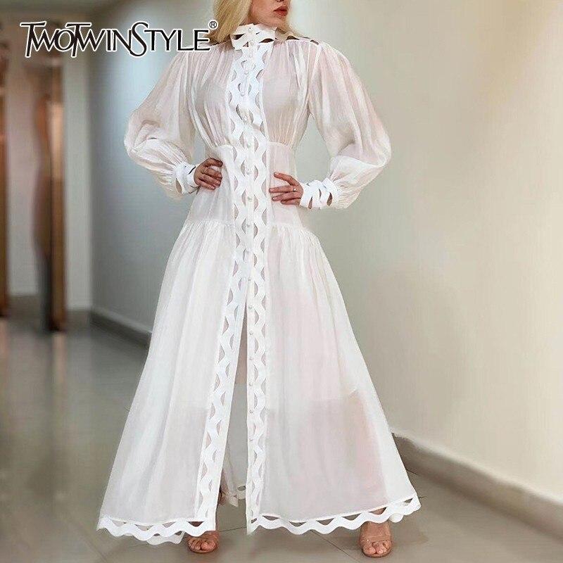TWOTWINSTYLE Hollow Out sukienka dla kobiet stanąć kołnierz latarnia rękaw o wysokiej talii sukienki kobiet na co dzień lato 2019 moda w Suknie od Odzież damska na  Grupa 1