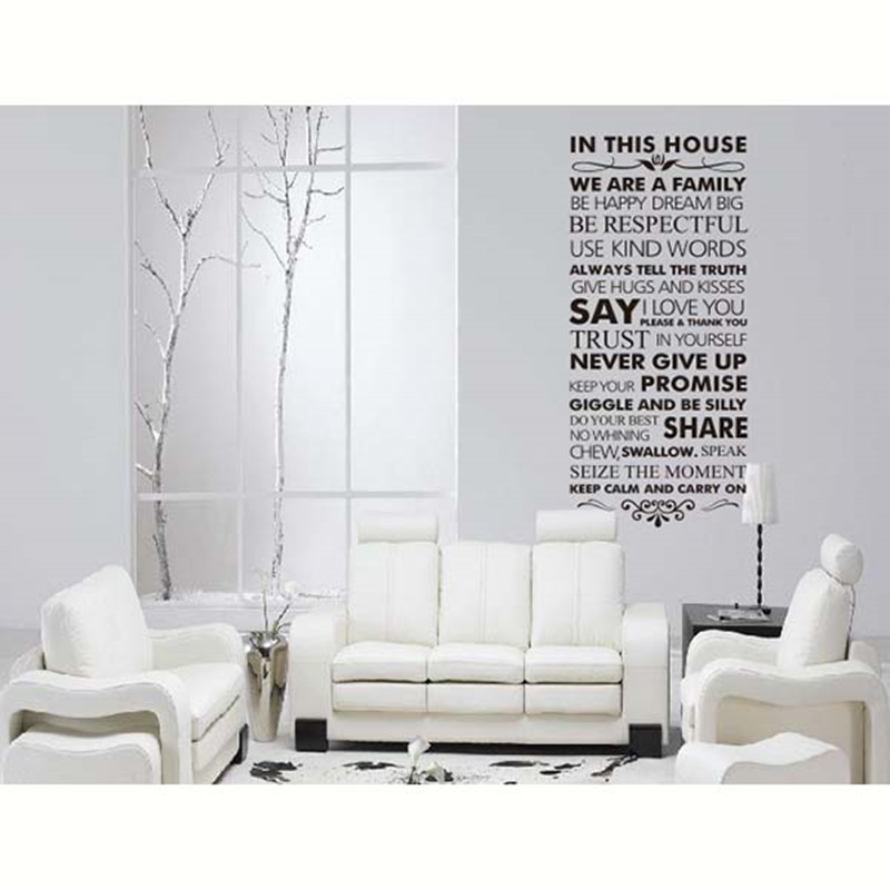 Art Design Home Decoration Vinyl French House Rules Word Wall Sticker  Colorful Pvc Family Creed Character Decal Sticker From Reliable Designer  Wall Stickers ...
