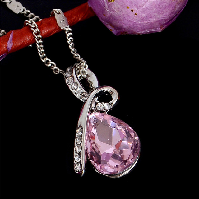 Crystal Necklace 10 Colors Silver Plated