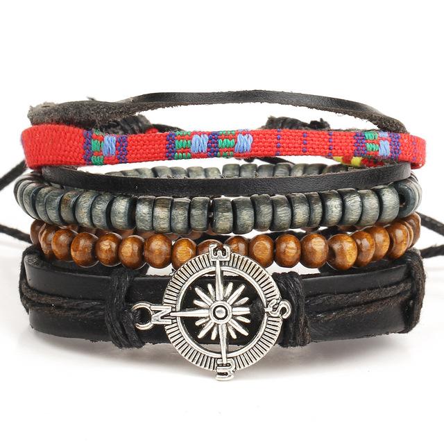 Set of 4 Punk Genuine Wrap Feather Leather Bracelets Men or Women