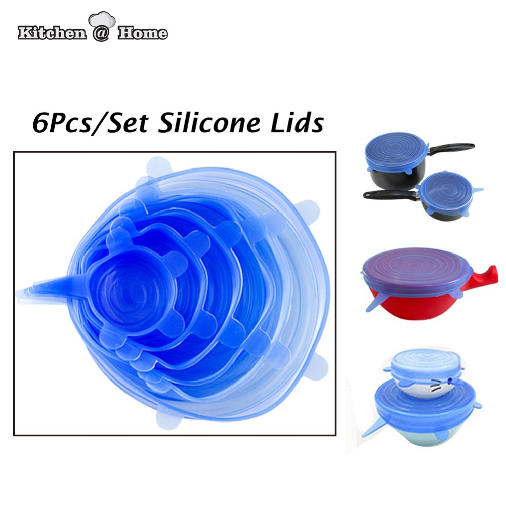 6 PCS universal Silicone saran food wrap Lid-bowl pot lid-silicon stretch lids silicone cover pan Kitchen Vacuum Lid Sealer
