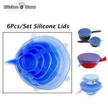 6 STÜCKE universal Silikon saran lebensmittelverpackung Deckel-schüssel topf deckel-silicon stretch deckel silikon abdeckung pan Küche vakuum Deckel Sealer