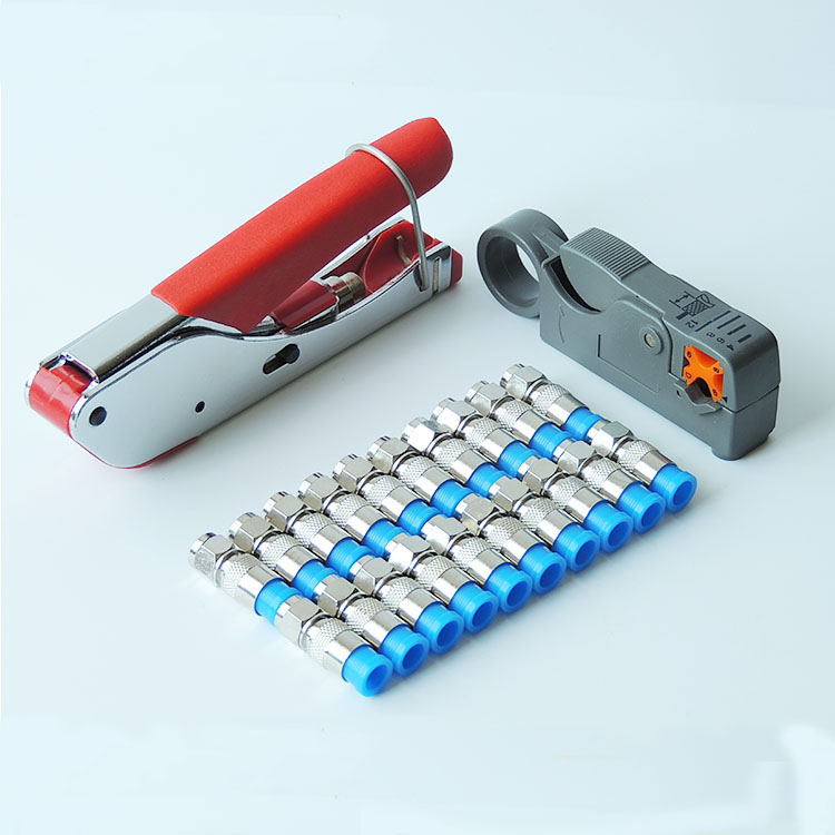 RG59 RG6 Coax Cable Crimper Coaxial Compression Tool Kit RG59 RG6 Cable Wire Stripper With 20PCS RG6 F Compression Connector