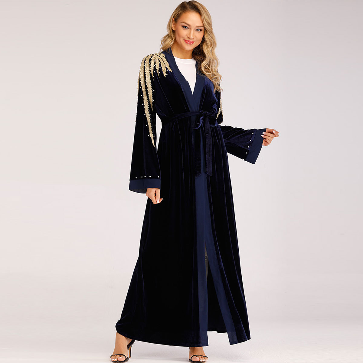 Middle East Muslim Long Coat Nailed Pearl Beading Embroidery Women   Trench   Coat With Sashes Elegant Runway Fashion   Trench   TT1694