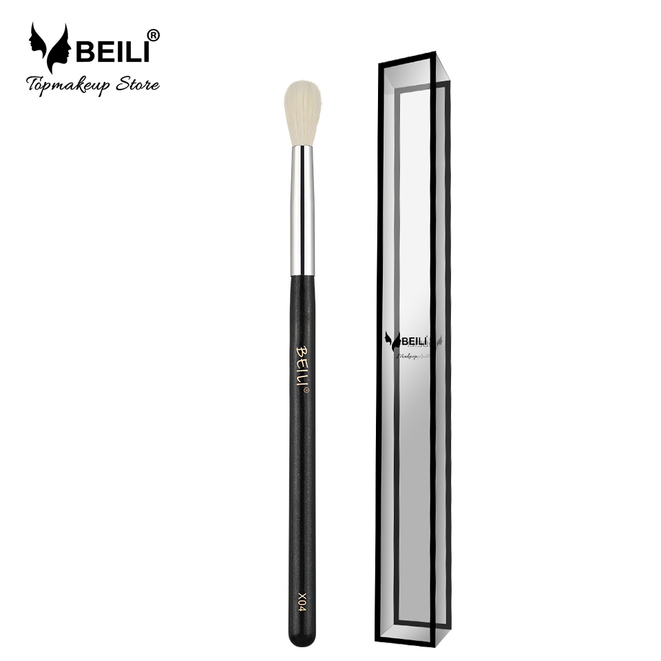 BEILI X04 weißes Ziegenhaar gemischt Kunsthaar Lidschatten Blending Single Make-up Pinsel Glitzergriff