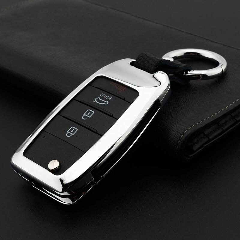 Zinc alloy Car Key Remote Cover Case For Kia Rio K2 Sportage 2017 2018 Ceed Optima K5 Cerato K3 K4 Sorento Carens Auto Key Case jingyuqin silicone flip folding key case for kia sid rio soul sportage ceed sorento cerato k2 k3 k4 k5 key set remote cover