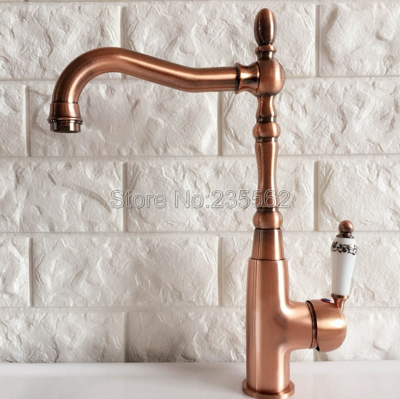 Red Copper Swivel Kitchen Sink Faucet Washbasin Faucets Single Lever Cold Hot Water Mixer Bathroom Taps