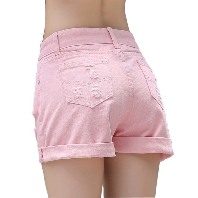 26af8e032c42 Women Hot Style Mid Waist Candy Color Denim Shorts Fashion Short Jeans for Women  Solid Casual Slim Hole Shorts