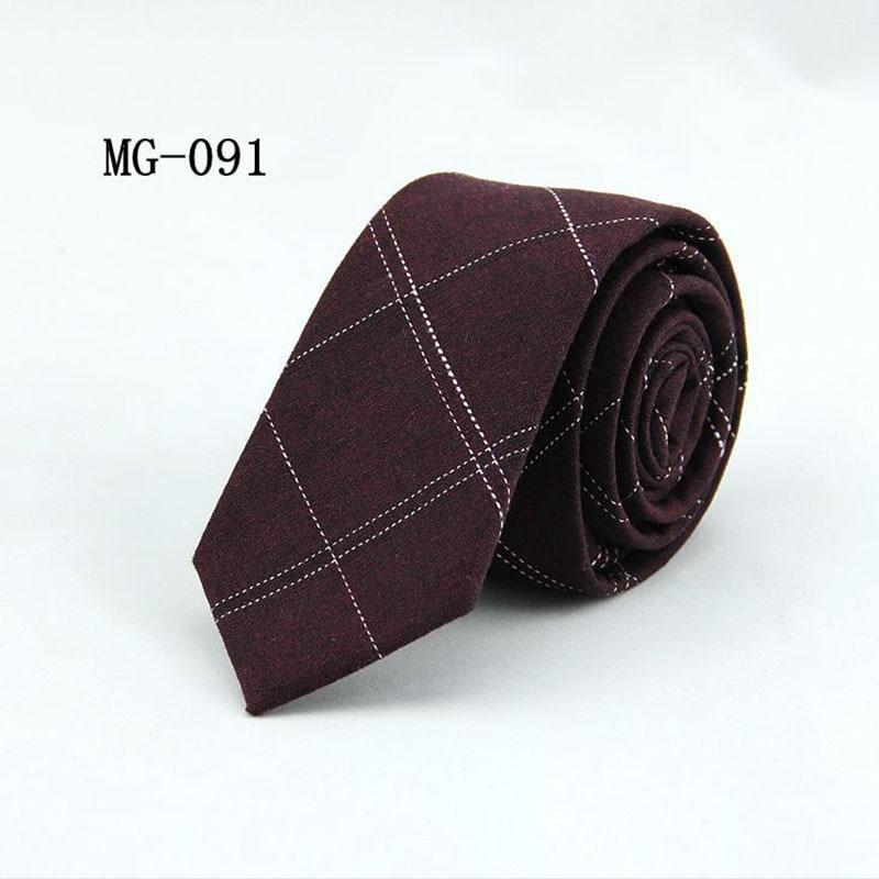 6cm England Style Plaid Pattern Designer Skinny Necktie Cravat Wedding Suit Cotton Striped Tie Mens Neck Ties