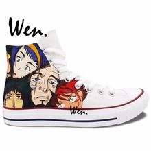 Wen Hand Painted White Canvas Sneakers Cowboy Bebop Gifts High Top Men Women's Canvas Sneakers