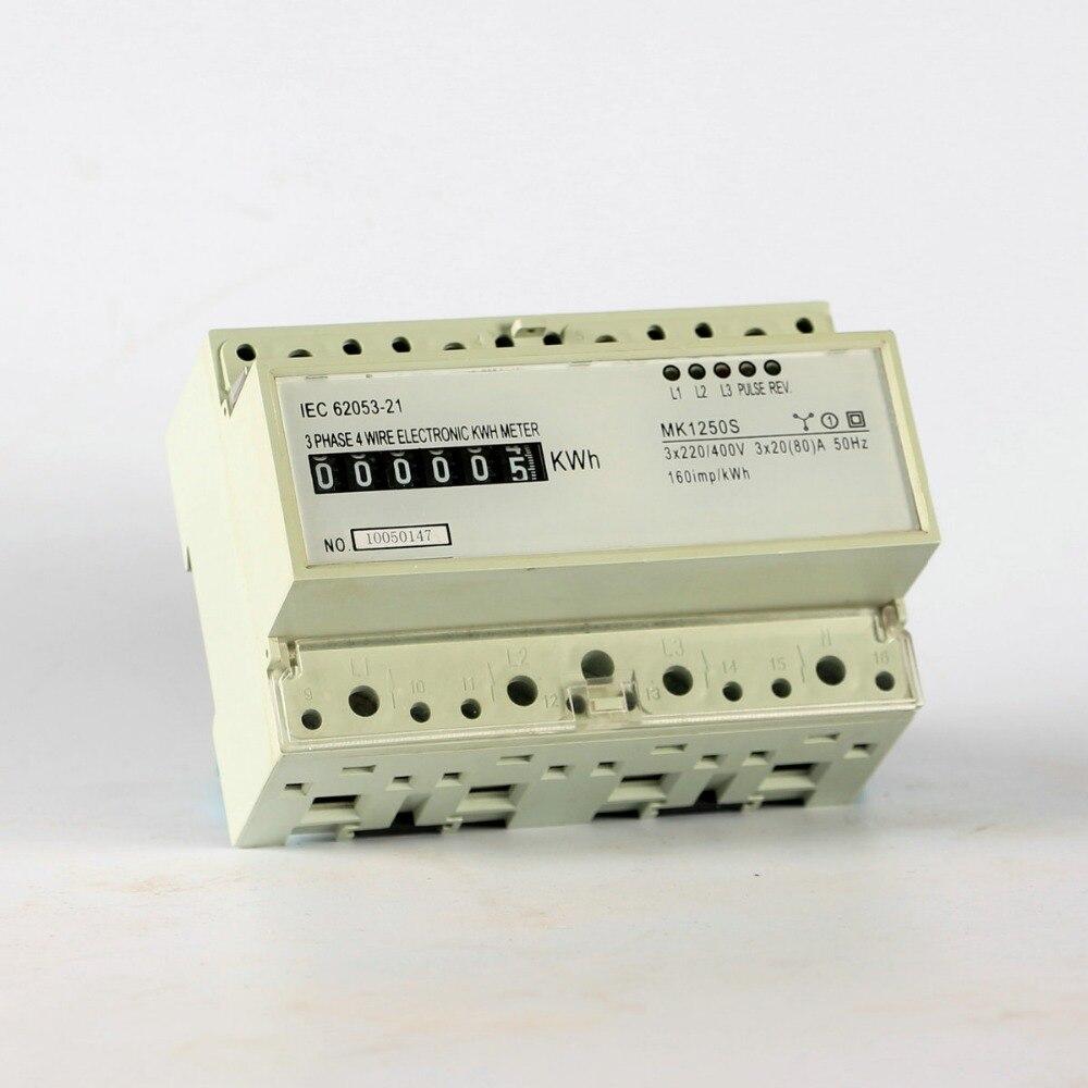 5(20)A 3 phase din rail energy meter 220V/230V 50HZ analog watt hour monitor din-rail kwh meter