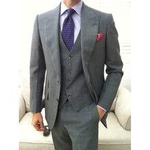Custom MADE TO MEASURE ผู้ชายชุด BESPOKE สีเทาเจ้าบ่าวชุดแต่งงานกว้าง lapel, ปรับแต่ง tuxedo (แจ็คเก็ต + กางเกง + ผูก + squaure)