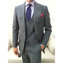 Custom MADE TO MEASURE men suit,BESPOKE GREY groom wedding suit with wide lapel,TAILORED tuxedo(jacket+pants+tie+pocket squaure)