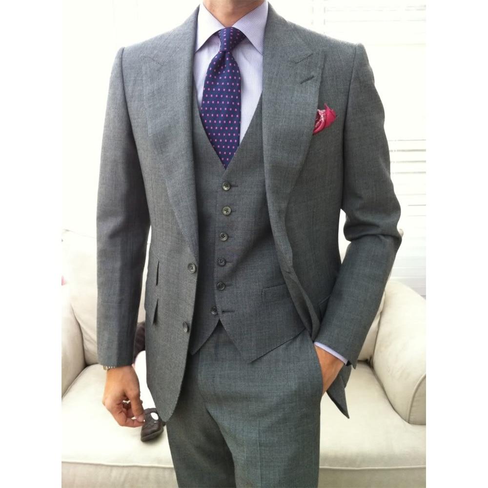 jacke + Pants + Tie + Tasche Squaure Nach Maß Zu Messen Männer Anzug Bespoke Grau Bräutigam Hochzeit Anzug Mit Breiten Revers Neueste Mode Tailored Smoking