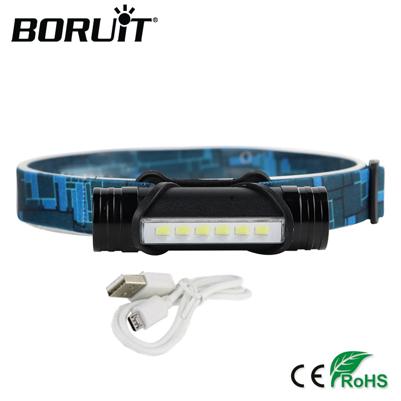 BORUiT L811 800LM 6 LED Mini Headlamp 3-Mode Flashlight USB Rechargeable Headlight Hunting Fishing Head Torch Built-in Battery