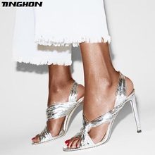 TINGHON  Summer Bling Sandals Women Thin High Heels Party Wedding Shoes Solid Silver Black Round Toe 35-40
