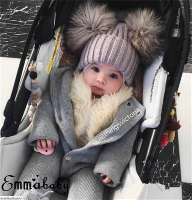 8d699f114e565 ... PUDCOCO Newest Child Baby Boys Girls Beanie Hat Casual Snow Cap Winter  Warm Double Fur Pom ...