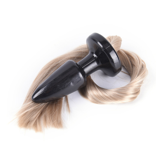 50cm Long Silky Tai Unisex Blondie Pony Tail Butt Plug Fetish Animal Role Play Horse Anal Plug Tail