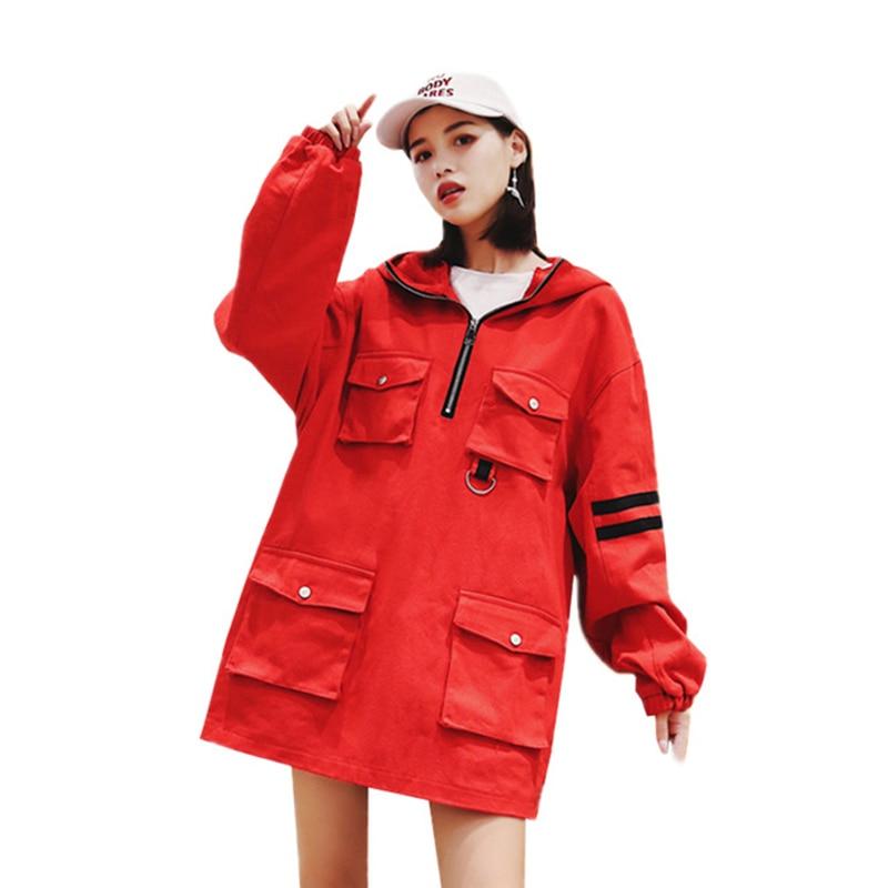 Taille Shirts Hoodies Mode Rayé À Poches Oversize Automne La Rouge Z35 Lâche Femelle Plus Femmes Décontractés De Pulls Manches Longues Red vn8mN0w