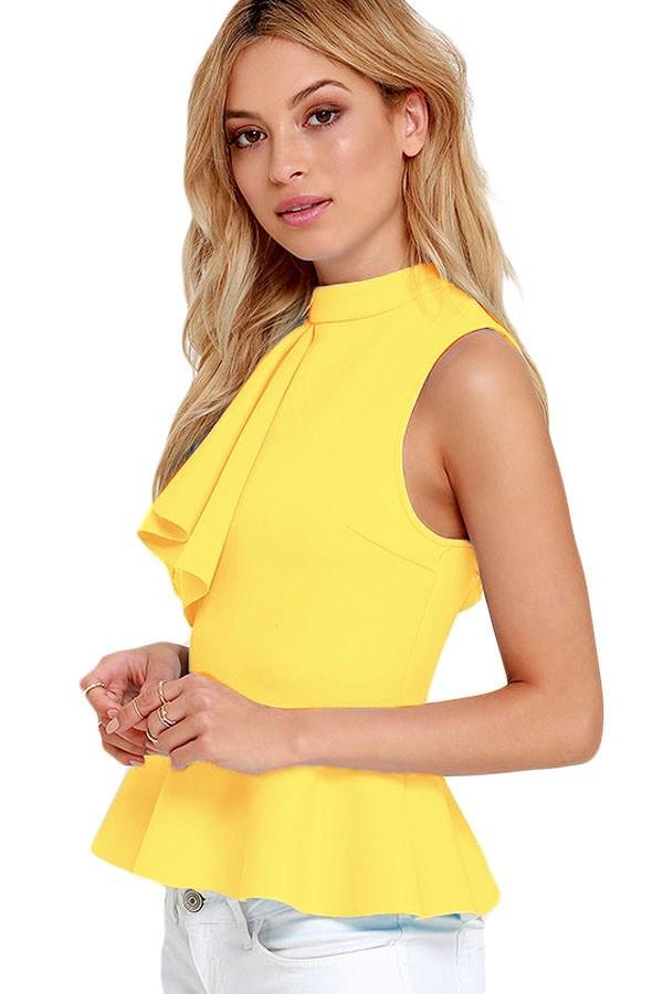 Yellow-Asymmetric-Ruffle-Side-Peplum-Top-LC25845-7-2