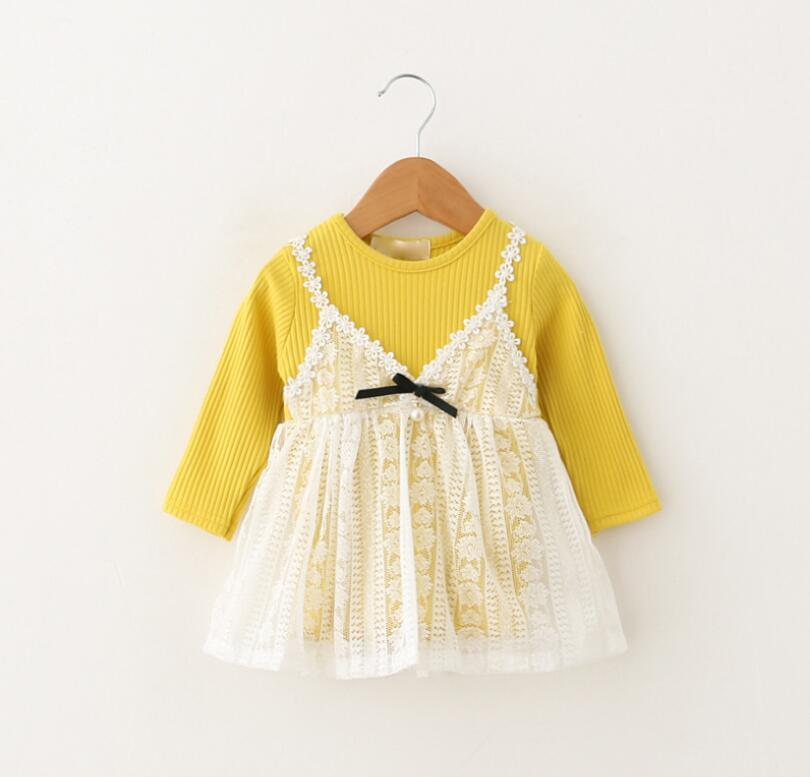Baby Spring New Clothing Princess Lace Flower Floral Clothes Children Girls Bow Lolita Full Sleeve Cute Dresses 4pcs/LOT