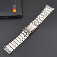Excellent 18 20 22mm New Men And Women Silver Solid Stainless Steel Bracelet Watch Band Strap